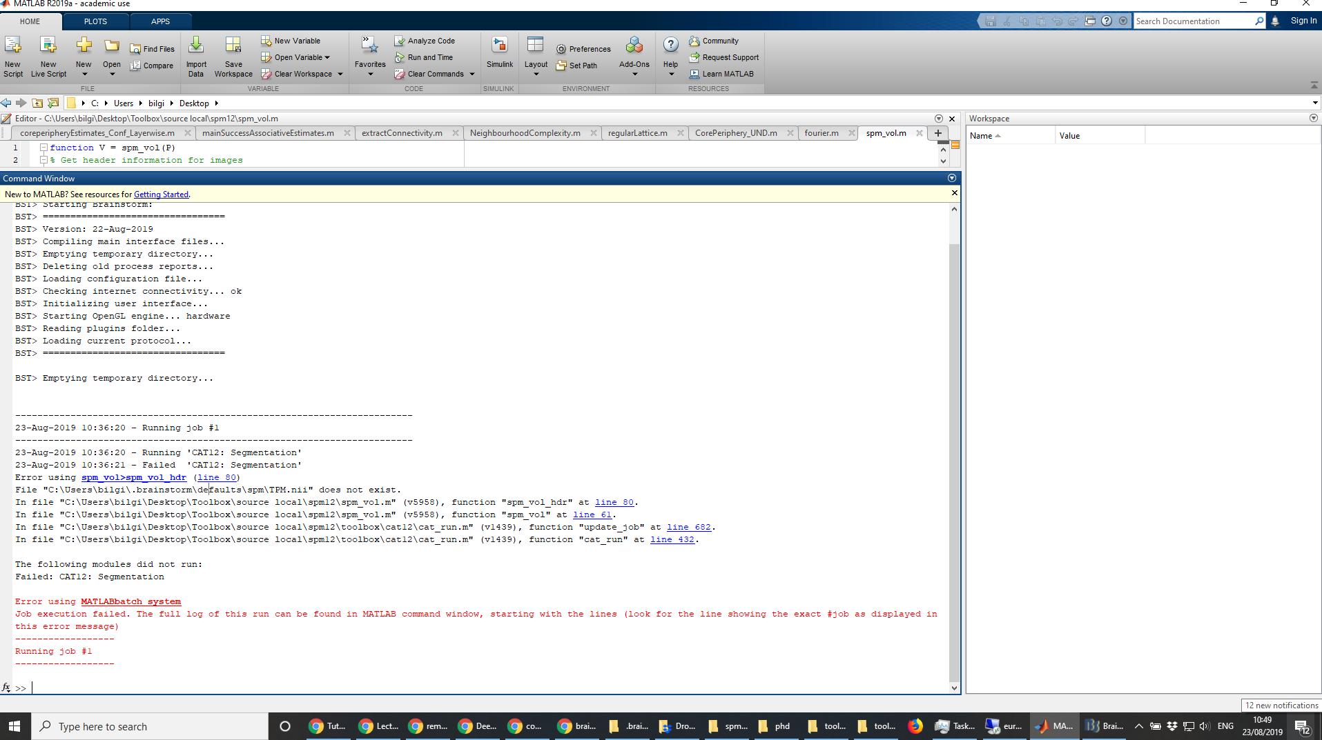 Windows10_Matlab2018_2019_Error